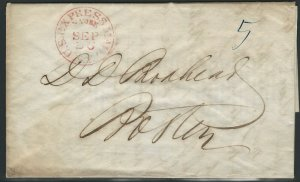 U.S., 1845 Stampless Cover, red U.S. EXPRESS MAIL, N. YORK, Sep 26 Marking