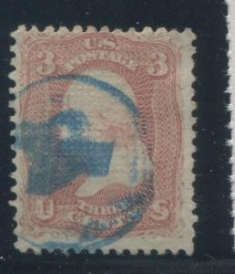 1868 United States Postage Stamp #85 Used F/VF Blue Cancel D. Grill Certified