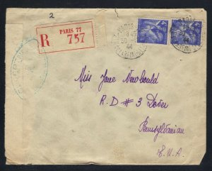 France NY 1944 Reg.Censored Cover with VTG Souvenir Handkerchief F