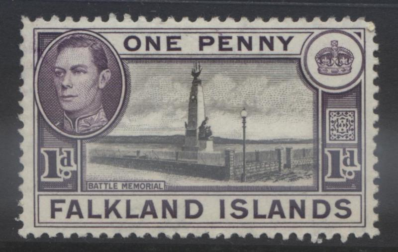 Falkland Is. - Scott 85B- KGVI Definitive - 1941  MLH - Dk Vio & Blk - 1d Stamp1