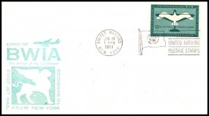 UN New York to Barbados BWIA 1961 First Jet Flight Cover