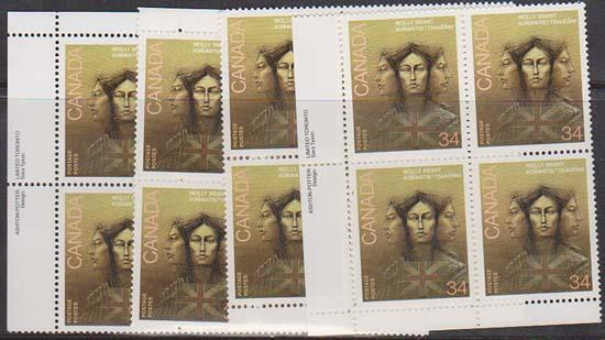 Canada USC #1091 Mint MS Imprint Blocks VF-NH 1986 Molly Brant Loyalist Indian