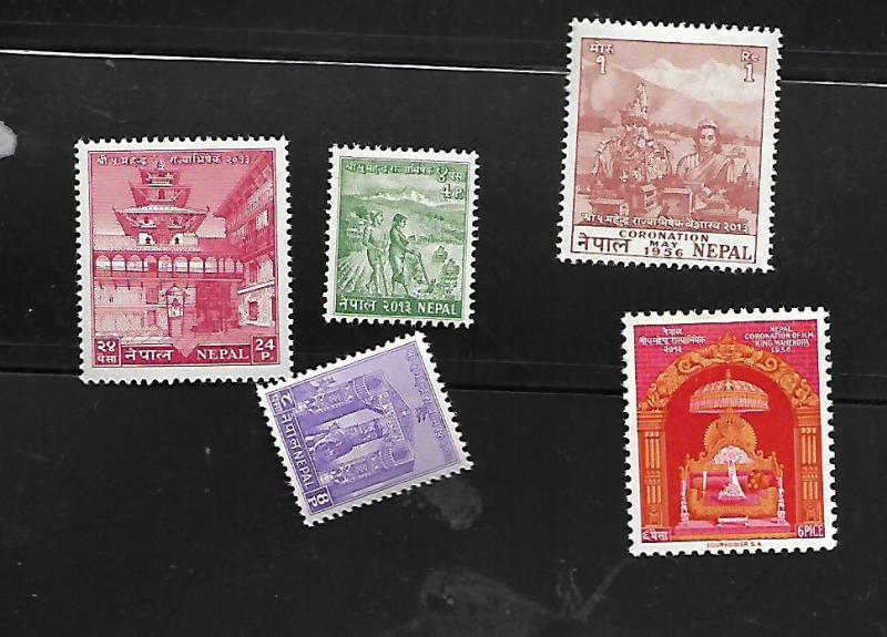 NEPAL 84-88 MINT HING 1956 ISSUE