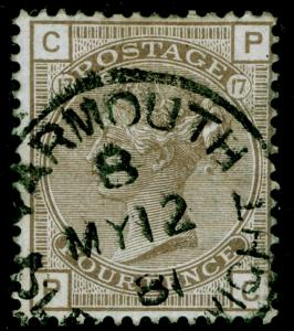 SG160, 4d grey-brown plate 17, FINE USED, CDS. Cat £80. WMK CROWN. PC