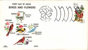 #1965 Illinois Birds - Flowers Colonial FDC