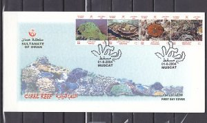 Oman, Scott cat. 460 a-d. Corals issue. First day cover. ^