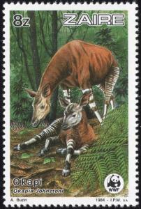 Zaire 1170 - Mint-NH - 8z Okapi, Mother / Young (WWF) (1984) (cv $3.75)