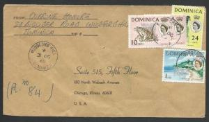 DOMINICA 1969 Registered cover to USA - WOODFORD HILL cds, Mss Reg.........50264