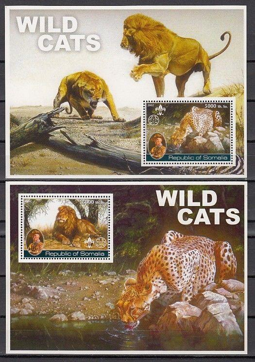 Somalia, 2002 Cinderella issue. Wild Cats on 2 s/sheets. Scout Founder in design