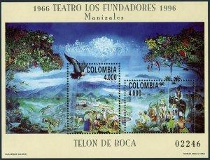 Colombia 1126 sheet,MNH.Michel 2034-2035 Bl.51. PHILEXFRANCE-1996.Eagle.