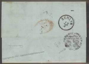 Turkey 1842 Austria Semlin Constantinople Trieste Disinfected Cholera Pes 102394