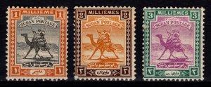 Sudan 1921 Arab Postman definitives, Part Set 1m-3m [Unused]