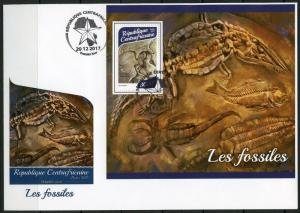 CENTRAL AFRICA  2017  FOSSILS SOUVENIR SHEET FIRST DAY COVER