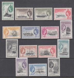 Falkland Islands Dependencies Sc 1L19-1L33 MLH. 1954 QEII pictorials, cplt set