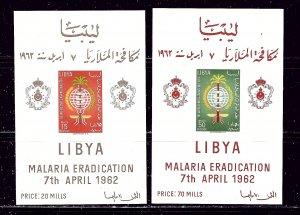 Libya 218a-19a MNH 1962 Anti-Malaria Campaign imperf souvenir sheets