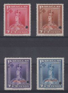 "PARAGUAY 1940 LADY OF ASUNCION Sc B6-B9 FULL SET PERF PROOFS + ""SPECIMEN"" MNH"