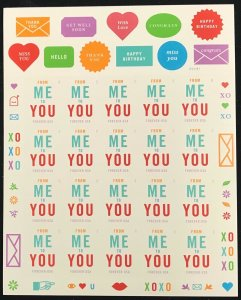 4978    From Me to You    MNH Forever sheet of 20    FV $11.00    Issued in 2015