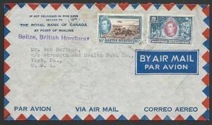 BR HONDURAS 1947 airmail cover to Belize to USA............................48625