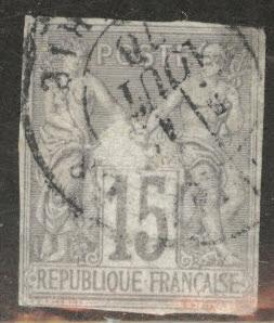 French Colonies Scott 33 Used 15c  gray 1877 CV $72.5o Scuff