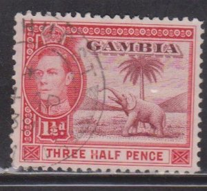 GAMBIA Scott # 134 Used - KGVI & Elephant