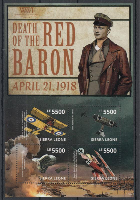 Sierra Leone 2014 MNH WWI WW1 Death of Red Baron 4v M/S Aviation Military Stamps