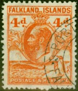 Falkland Islands 1937 4d Deep Orange SG120a P.13.5 V.F.U