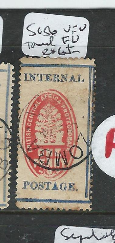 BRITISH CENTRAL AFRICA (P2605B) CHECK STAMP SG 56 TONED  VFU ZOMBA