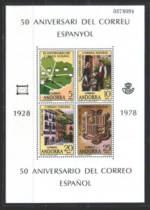 Andorra. 1978. bl1. 50 years of Spain Post in Andorra. MNH.