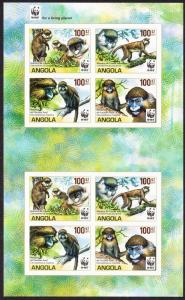 Angola WWF Monkeys Guenons MS of 2 sets imperforated