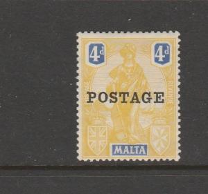 Malta 1926 Opt POSTAGE 4d MM SG 150