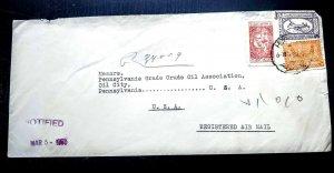 "RARE SAUDI ARABIA 1955 ""REGISTERED"" COVER TO USA RECEIVING CANCEL ON BACK UNIQUE"