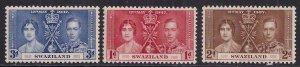Swaziland 1937 KGV1 Set 3 Coronation MM SG 25 - 27 ( D1196 )