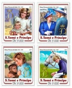 St Thomas - 2017 Princess Diana Anniversary - 4 Stamp Set - ST17202a