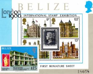 Belize 1980 Sc# 439 London '80 Stamp on Stamp  S/S (1)  MNH VF