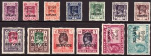 1947 Burma KGVI Official complete set MNH Sc# O43 / O55 CV $200.00 Stk #2