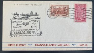 1939 Shediac Canada First Official Flight Airmail Cover FFC To Ireland