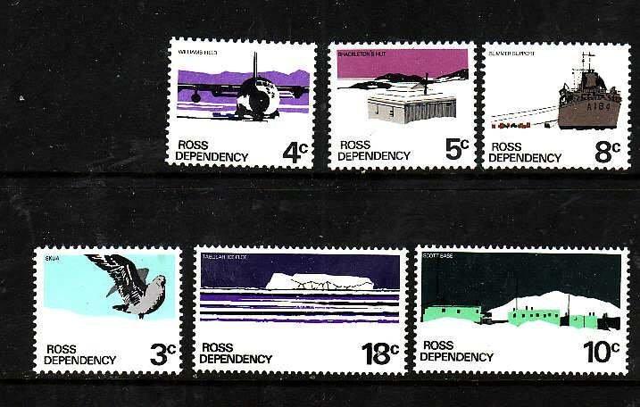 Ross Dependency-Sc#L9-14- id6-unused NH set-Ships,Planes-Scott base-1972-