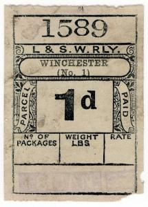 (I.B) London & South Western Railway : Paid Parcel 1d (Winchester)
