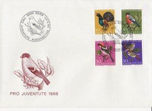 SW238) Switzerland 1968 Pro Juventute - Birds FDC.