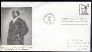 UNITED STATES FDC $2.00 W J Bryan 'Campaign' 1986 cacheted