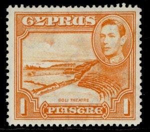 CYPRUS GVI SG154a, 1pi orange, M MINT. Cat £550. PERF 13½ X 12½