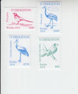 2018 Uzbekistan Birds Pt 2 (4) (Scott 846, 851, 854-55) MNH