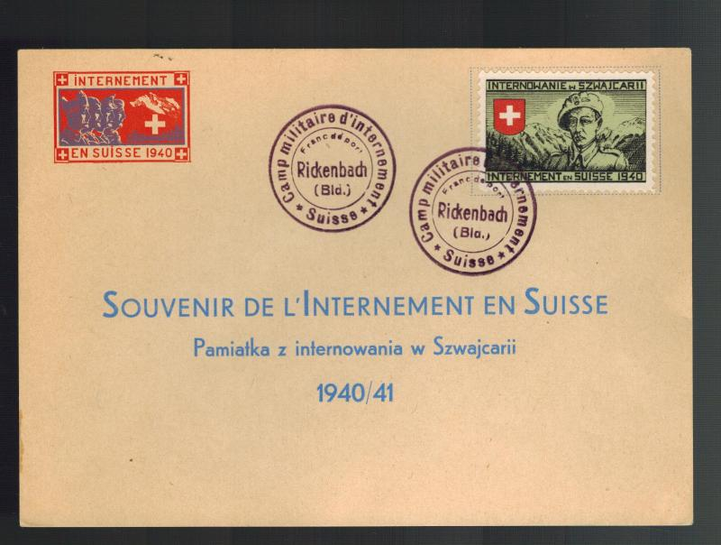 1940 Rickenbach Switzerland Polish Internment Camp Postcard Souvenir Cover
