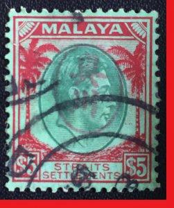 Malaya PENANG Japanese Occu opt Straits Settlements KGVI $5 USED SG#J68 M2522