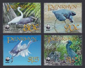 Penrhyn Birds WWF Pacific Reef-Egret 4v SG#547-550 MI#611-614 SC#468-471 SALE