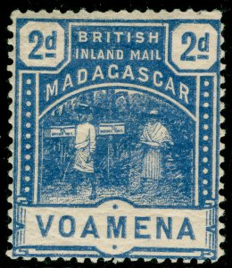 MADAGASCAR SG57, 2d blue, M MINT. Cat £14.
