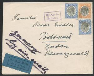 KENYA UGANDA TANGANYIKA 1934 cover to Germany BY AIR TO BRINDISI...........66241
