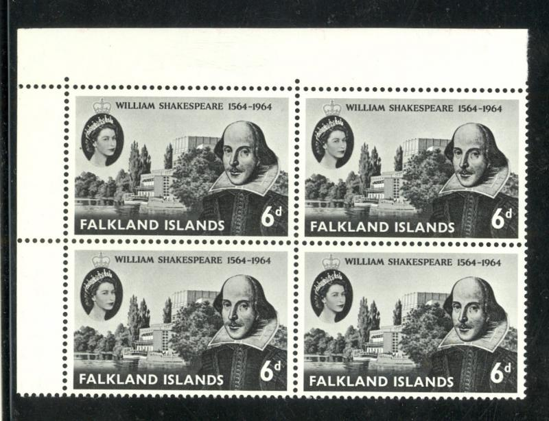 FALKLAND ISLANDS 1964 SHAKESPEARE Issue Scott No. 149 BLOCK OF 4 Mint NH