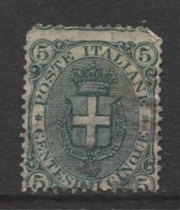 Italy - Scott 67 - Arms of Savoy -1891 - Used - 5c Green Stamp