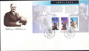 Canada-Sc#1344-stamps on FDC-Sports-Basketball-James A Naismith-1991-